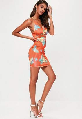 Missguided Orange Floral Strappy Bodycon Dress