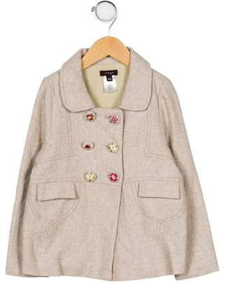 Imoga Girls' Embroidered Double-Breasted Jacket