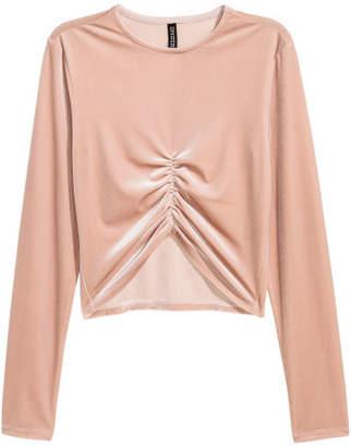 H&M Short Velour Top - Pink