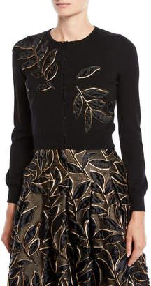 Oscar de la Renta Crewneck Button-Front Leaf-Embroidered Cropped Cardigan