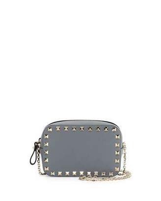 Valentino Small Rockstud Chain Camera Crossbody Bag, Light Gray $895 thestylecure.com