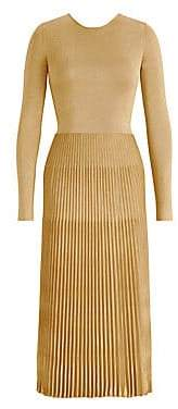 Ralph Lauren Women's Metallic Pleated Skirt Midi Dress