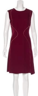 J. Mendel Velvet-Trimmed Knee-Length Dress w/ Tags