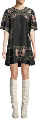 Isabel Marant Short-Sleeve Embroidered Ruffle-Hem Dress