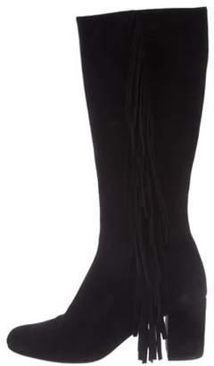 Saint Laurent Fringe-Trimmed Suede Boots Black Fringe-Trimmed Suede Boots
