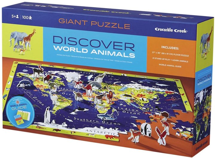 Crocodile Creek Discover World Animals Learn   Play 100 piece Floor Puzzle and 21 Figures, 36""