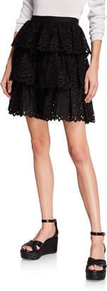 Michael Kors Tiered Eyelet Mini Skirt
