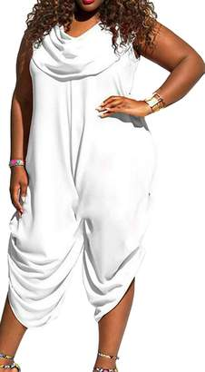 e75e5f1a746 SYTX-women clothes SYTX Women Loose Sleeveless Plus Size Pure Color Jumpsuit  Rompers L