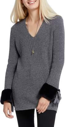 Nic+Zoe Warm & Fuzzy Faux Fur Cuff Cotton Blend Sweater
