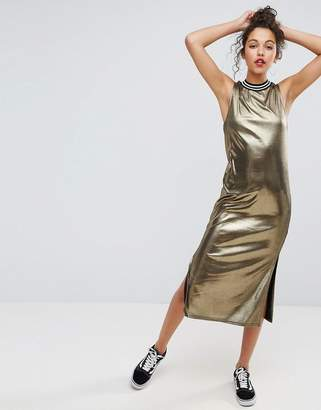 Asos Design Metallic Gold Midi Dress With Sports Trim