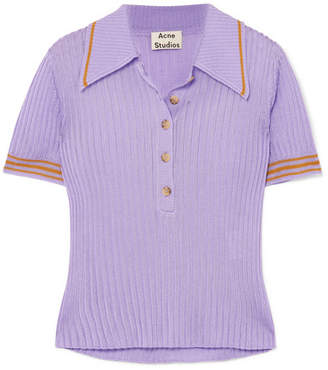Shanita Ribbed-knit Polo Shirt - Lilac