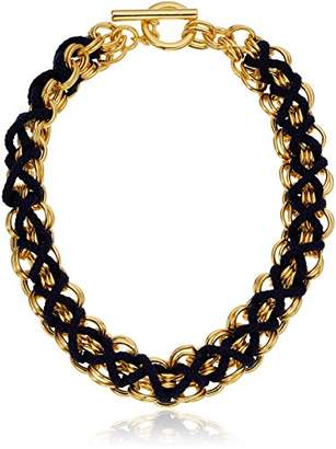 Ben-Amun Jewelry Linked Gold and Navy Braided Choker Necklace