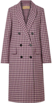 Burberry Checked Cotton-blend Coat - Burgundy