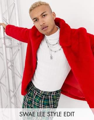Asos Design DESIGN faux fur harrington jacket in red