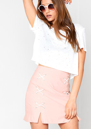 Missy Empire Missyempire Alcie Nude Stitch Detail Mini Skirt