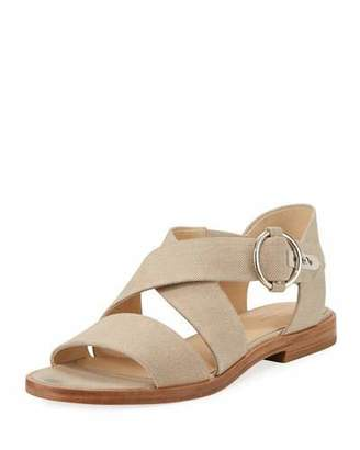 Rag & Bone Brie Flat Canvas Flat Sandal, Cream