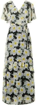 Dorothy Perkins Womens Black Daisy Chiffon Maxi Dress