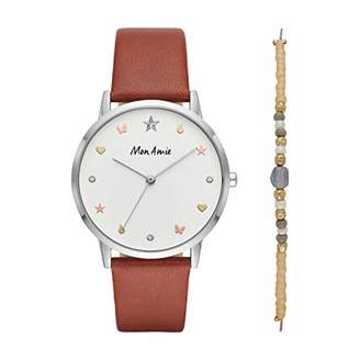Mon Amie Women's 'Supports Education' Quartz Metal and Leather Casual Watch