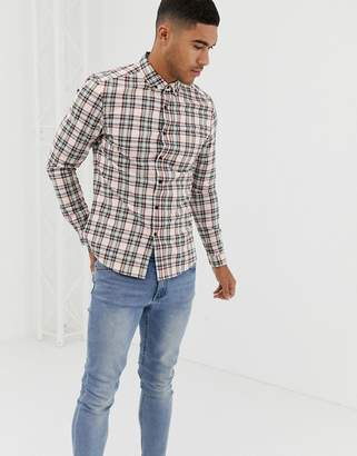 Asos Design DESIGN skinny fit check shirt in ecru