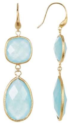 Rivka Friedman 18K Gold Clad Faceted Caribbean Blue Quartzite Bold Double Dangle Earrings