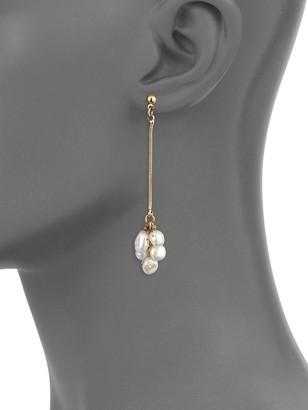 Ava & Aiden 5-8MM White Baroque Freshwater Pearl Snake Chain Drop Earrings