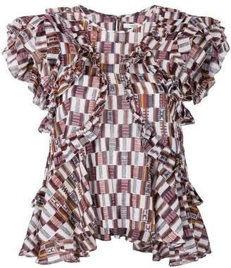Etoile Isabel Marant ruffle-trim printed top