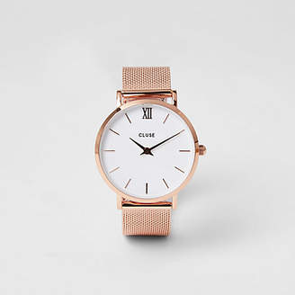 River Island Rose gold plated Cluse mesh watch