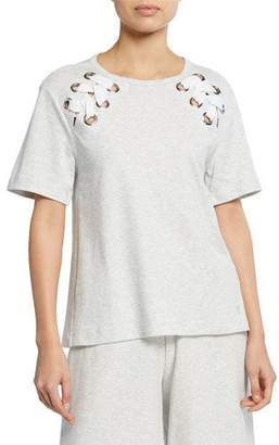 f21ce1f795 Joan Vass Plus Size Short-Sleeve Cotton Interlock Swing Top w  Lacing Detail