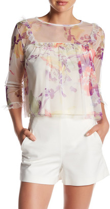 Mimi Chica Mesh Floral Ruffle Blouse $36 thestylecure.com