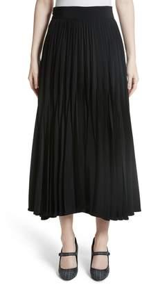 Co Pleated Stretch Crepe Midi Skirt