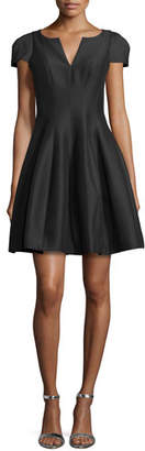 Halston Tulip-Skirt Split-Neck Dress, Black