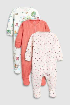 Next Girls Ecru/Pink Farm Animal Sleepsuits Three Pack (0mths-2yrs)