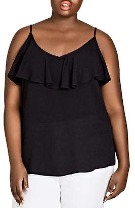 City Chic Plus Island Holiday Sleeveless Ruffle-Trim Top