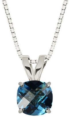 FINE JEWELRY Genuine Swiss Blue Topaz Sterling Silver Pendant Neckalce