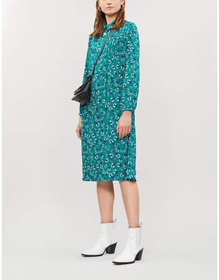 Samsoe & Samsoe Musa floral-print long-sleeved crepe dress