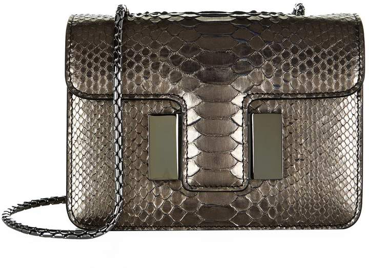 TOM FORD Small Sienna Python Chain Bag, Silver