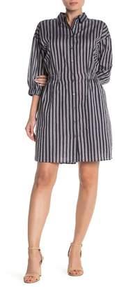 FRNCH Metallic Stripe Shirt Dress