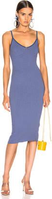 Enza Costa for FWRD Rib Strappy Bra Midi Dress in Vintage Blue | FWRD