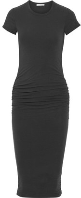James Perse - Classic Ruched Stretch-cotton Jersey Midi Dress - Charcoal $225 thestylecure.com