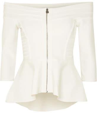 Herve Leger Off-the-shoulder Bandage Peplum Jacket - Cream