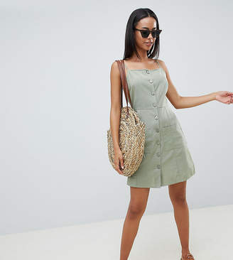 Asos Tall DESIGN Tall button through linen mini sundress