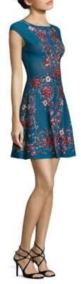 Roberto Cavalli Cap Sleeve Jacquard Dress
