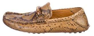 Gucci Snakeskin Horsebit Driving Loafers