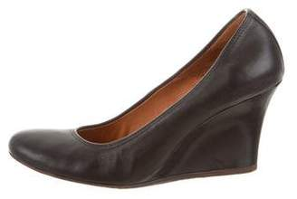 Lanvin Leather Round-Toe Wedges