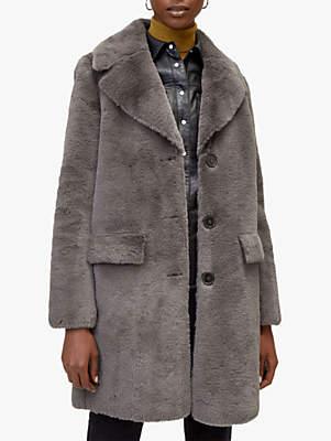 Warehouse Longline Femme Faux Fur Coat, Dark Grey