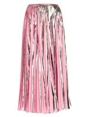 Marni Women's Metallic Pleated Midi Skirt - Pink Metallic - Size 38 (2)