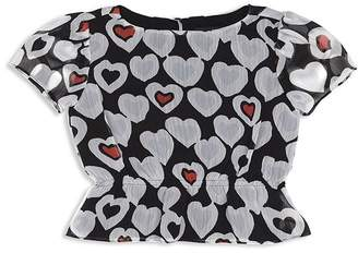 Giorgio Armani Girls' Heart Peplum Blouse - Little Kid, Big Kid