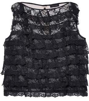 Marc Jacobs Ruffled Lace And Textured-organza Top
