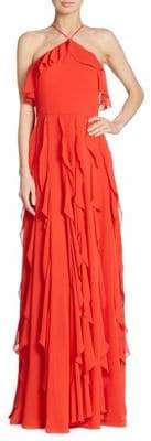 Kay Unger Ruffled Halterneck Gown
