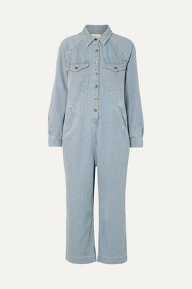 The Great The Cropped Boiler Striped Cotton Jumpsuit - Blue